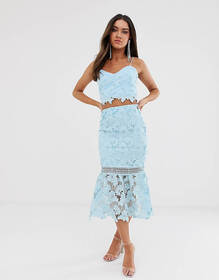 Love Triangle cutwork lace pencil skirt two-piece