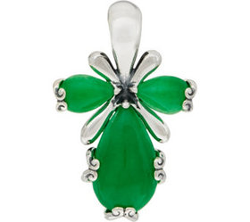 """""""As Is"""" Carolyn Pollack Sterling Silver Jade Caboc"""