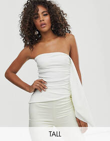 Club L London Tall bandeau frill top in white