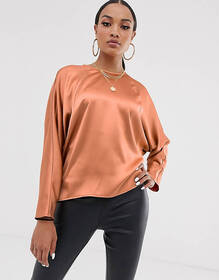 ASOS DESIGN batwing top in satin with wrap back