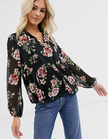 New Look floral print blouse in black