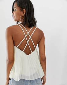 ASOS DESIGN pleated cami with cross back