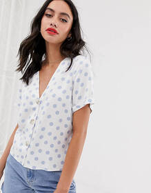 ASOS DESIGN boxy top with contrast buttons in polk