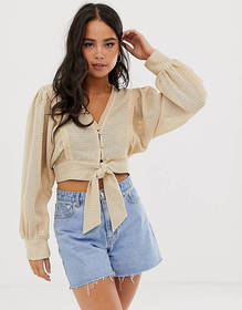 Moon River textured tie front blouse