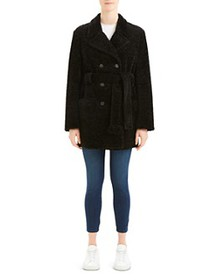 Theory - Belted Embossed Soft-Knit Peacoat