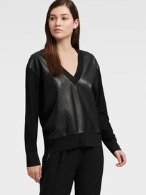 Donna Karan V-NECK SWEATSHIRT WITH FAUX LEATHER PA