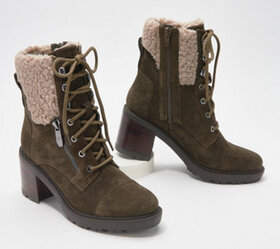 Marc Fisher Lace-Up Heeled Booties w/ Shearling -