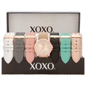 XOXO Womens Crystal Rose Gold Watch & Band 7-Piece