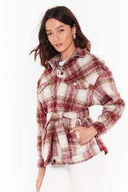 Nasty Gal Red Brush Down Check Belted Jacket
