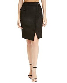 Faux-Suede Wrap Skirt