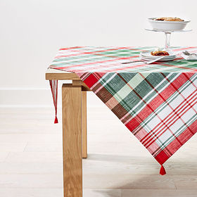 Crate Barrel Red and Green Plaid Table Throw