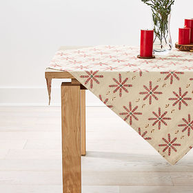"Crate Barrel Snowflake Burst 50"" Embroidered Table"