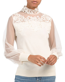 ADIVA Lace Sweater With Mesh Sleeve