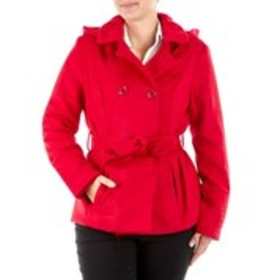 PINK ENVELOPE Juniors Double Breasted Knit Peacoat