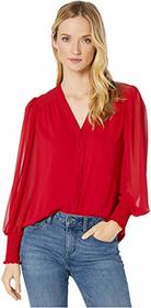 Vince Camuto Long Sleeve Smocked Cuff V-Neck Butto