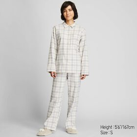 WOMEN STRETCH FLANNEL LONG-SLEEVE PAJAMAS, OFF WHI