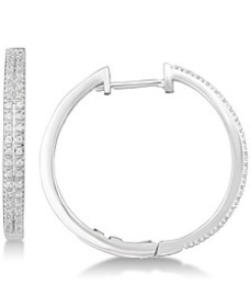 Diamond Hoop Earrings (1/4 ct. t.w.) in Sterling S