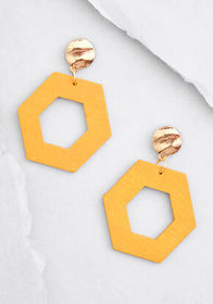Hexagon and On Dangle Earrings Mustard Yellow