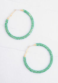 Let's Fete the Mood Hoop Earrings Green
