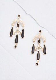 Bold Beauty Drop Earrings Black/Gold