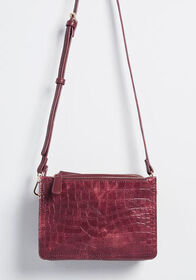 After While, Crocodile Crossbody Bag in Burgundy