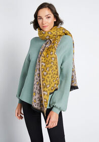 On the Fierce Side Fringed Scarf Mustard