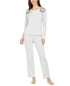 Women's Floral Embroidered Pajama Set, Created For