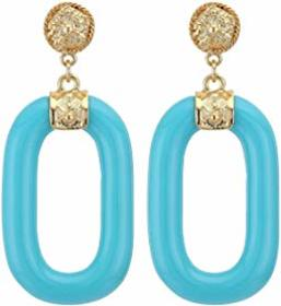 Kenneth Jay Lane Polished Gold Top Turquoise Link