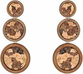 Kenneth Jay Lane Small to Large Gold/Wood Circles