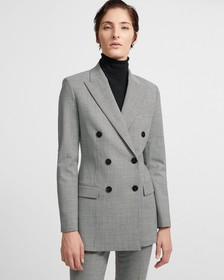 Stretch Poly Blend Houndstooth Double-Breasted Jac