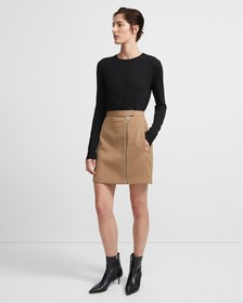 Stretch Wool Zip Mini Skirt