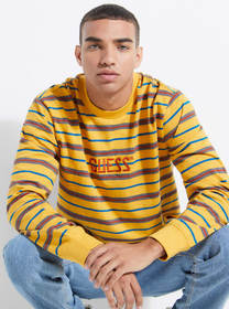 GUESS Originals Striped Long-Sleeve Logo Tee