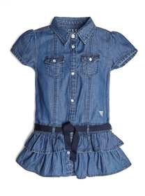 Belted Chambray Ruffle Dress (2-7)