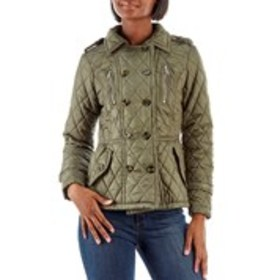 URBAN REPUBLIC Juniors Double Breasted Quilted Pea
