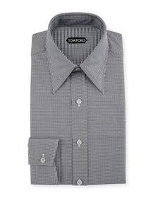 TOM FORD Men's Hopsack Pointed-Collar Dress Shirt