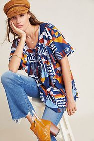 Anthropologie Ventura Abstract Blouse