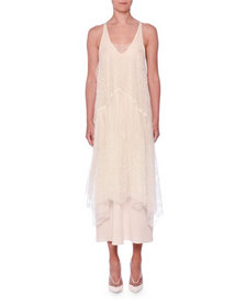 Stella McCartney OFF WHT EMBROIDERY MESH OVER