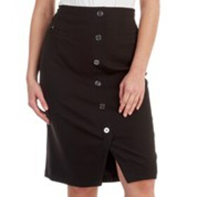 HOPE & HARLOW Petite Button Front Pencil Skirt