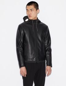 Armani PADDED FAUX LEATHER JACKET WITH REFLECTIVE