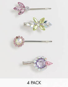 ASOS DESIGN pack of 4 hair clips with color crysta