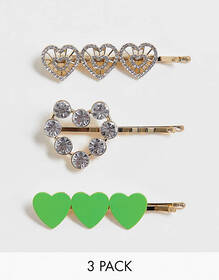 ASOS DESIGN pack of 3 hair clips in heart designs