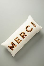 Anthropologie Embroidered Merci Pillow