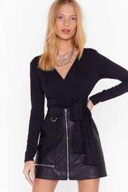 Nasty Gal Black Tie You Like This Ribbed Wrap Body