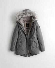 Hollister Cozy-Lined Parka, GREY