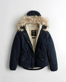 Hollister Sherpa-Lined Anorak Jacket, NAVY