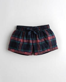 Hollister Flannel Sleep Short, NAVY PLAID