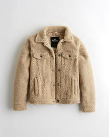 Hollister Sherpa Jacket, BROWN