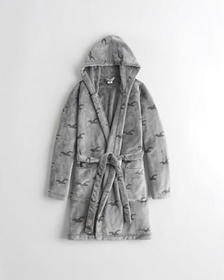 Hollister Icon Sherpa Belted Robe, GREY