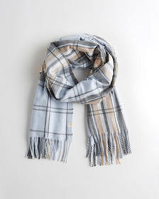 Hollister Woven Scarf, LIGHT BLUE PLAID