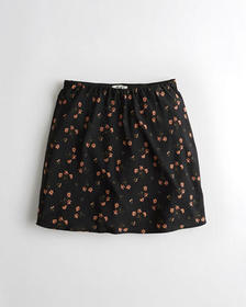 Hollister Ultra High-Rise Satin Skirt, BLACK FLORA